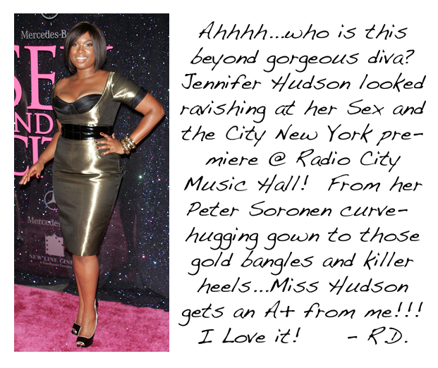 Jennifer Hudson at SATC radio city music hall premiere