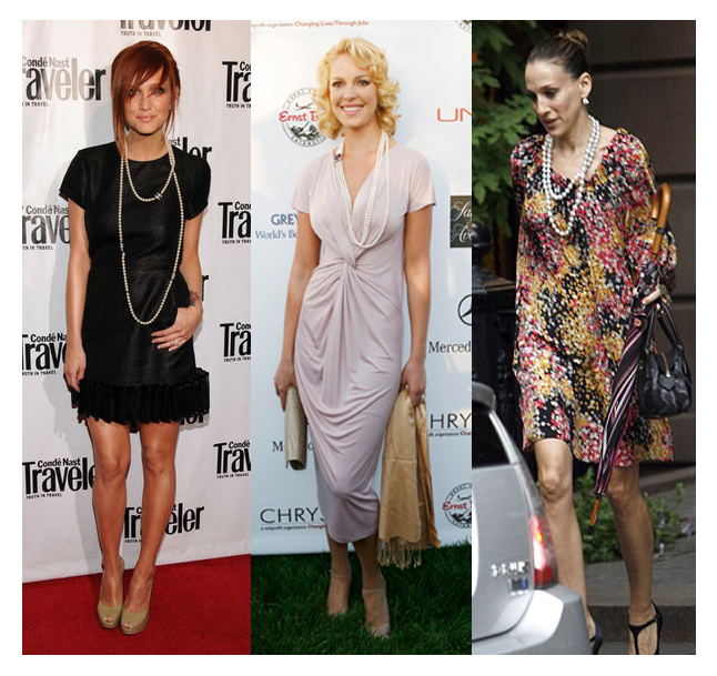 Ashlee simpson, katherine heigl and sarah jessica parker in pearl necklaces