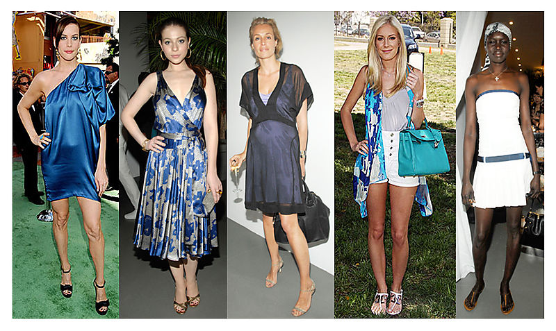 Celebs in Ocean Blue Frocks and Accessories