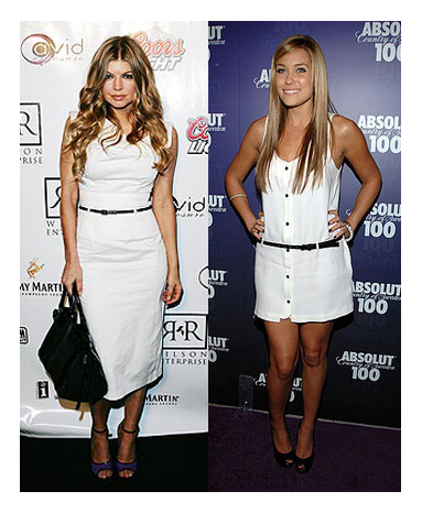 Fergie and lauren conrad in white dress and skinny black belt