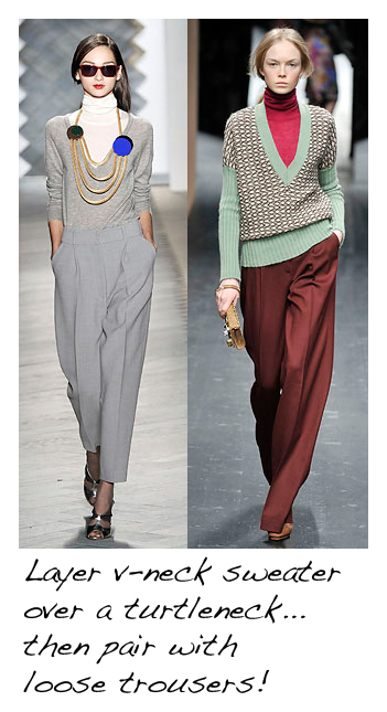 V-neck sweater over turtleneck with trousers